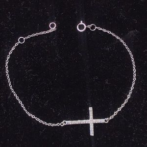 Vintage sterling sideways cross bracelet